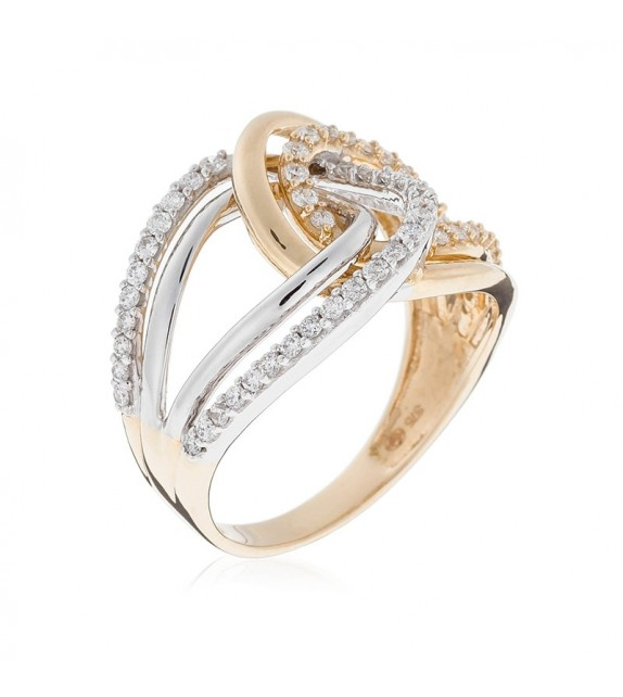 Bague Entrelacement Envoutant Or Bicolore et Diamant 0,49ct