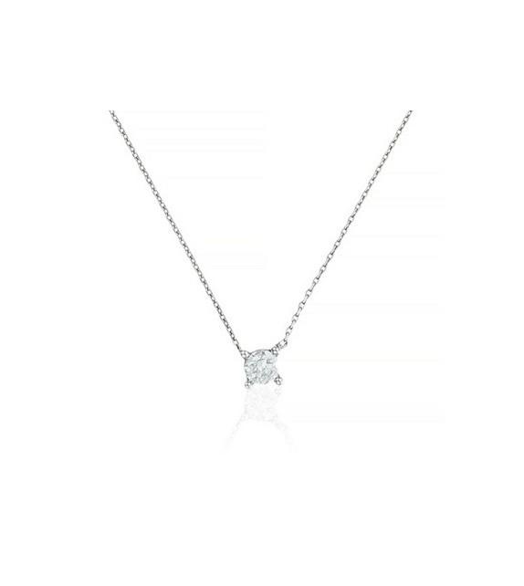 Collier Brillant damour Or Blanc et Diamant 0,2ct
