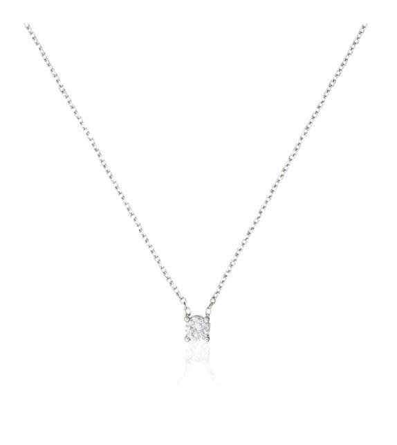 Collier Brillant damour Or Blanc et Diamant 0,33ct