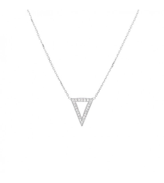 Collier Triangle Or Blanc et Diamant 0,08ct