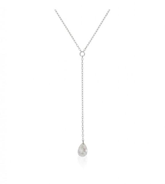 Collier diamant perce Capri Or Blanc et Diamant 0,18ct Diamant percé
