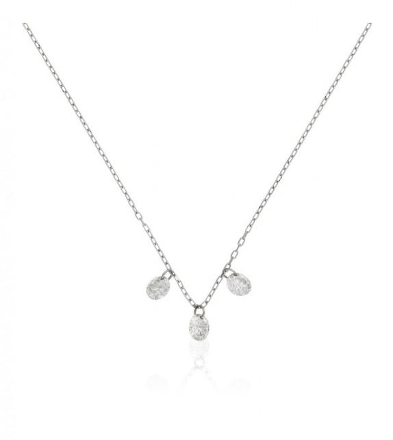 Collier diamant perce Shiny Or Blanc et Diamant 0,22ct Diamant percé