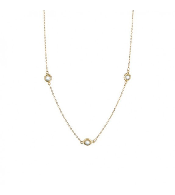 Collier Colors Or Jaune et Diamant ct Topaze 0,241ct