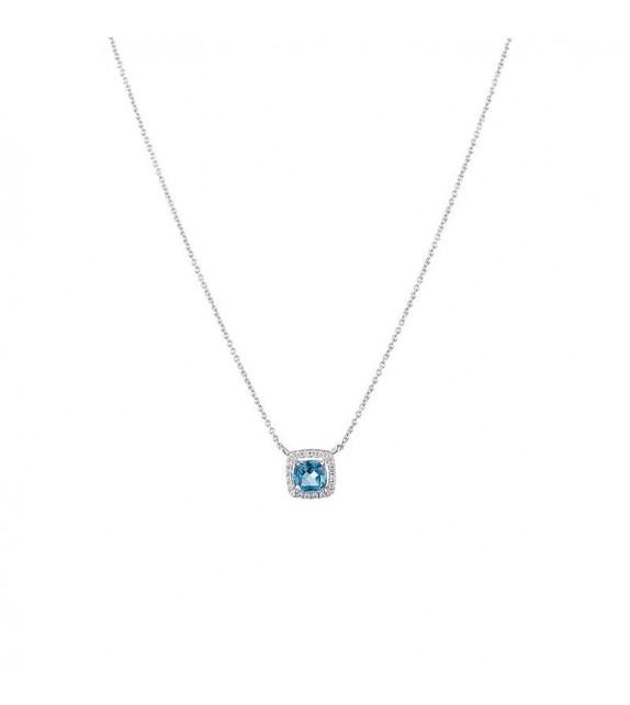 Collier Divinescence Or Blanc et Diamant 0,07ct Topaze 0,65ct