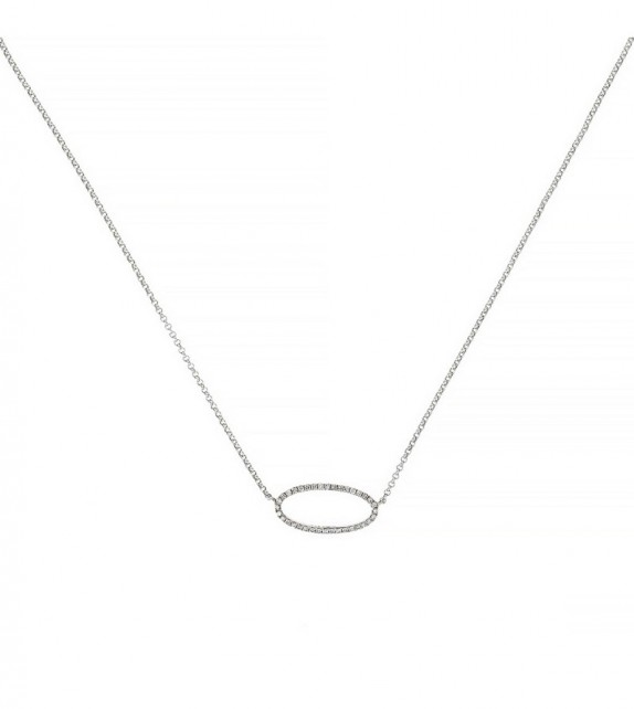 Collier Expression Or Blanc et Diamant 0,1ct