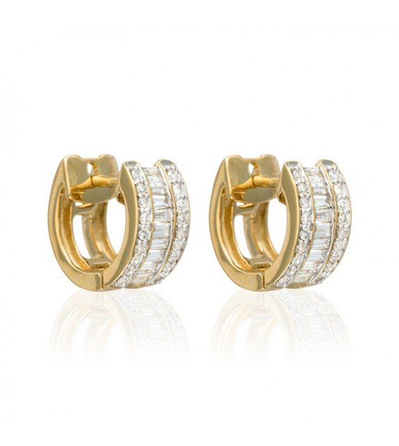 Boucles doreilles Double Rangs Baguettes Or Jaune et Diamant 0,63ct