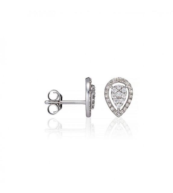 Boucles doreilles Poires scintillantes Or Blanc et Diamant 0,21ct