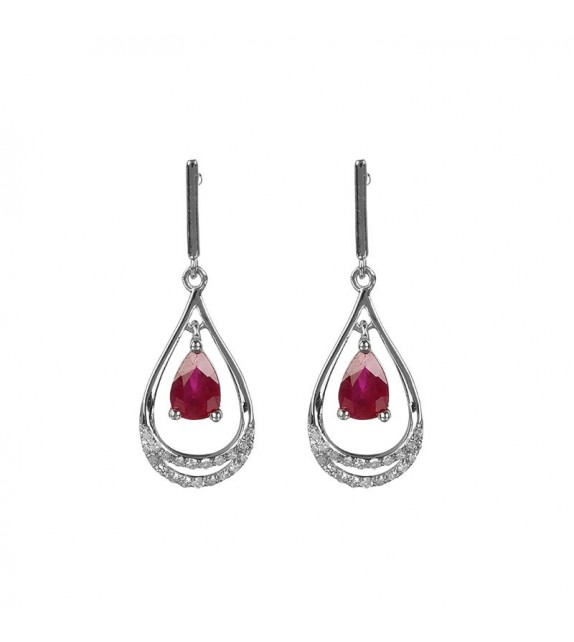 Boucles doreilles Gold and Red Or Blanc et Diamant 0,14ct Rubis 1ct