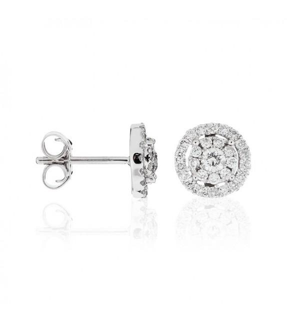 Boucles doreilles Rond Encerclé Or Blanc et Diamant 0,53ct