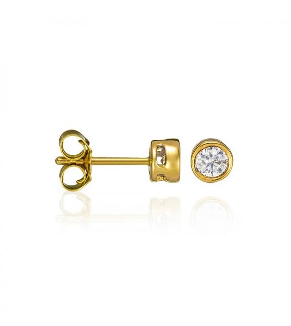 Boucles doreilles Puce éclat Or Jaune et Diamant 0,5ct