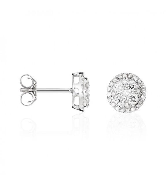 Boucles doreilles Ronds Merveilleux Or Blanc et Diamant 0,49ct