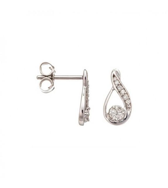 Boucles doreilles Jolie goutte de diamants Or Blanc et Diamant 0,12ct