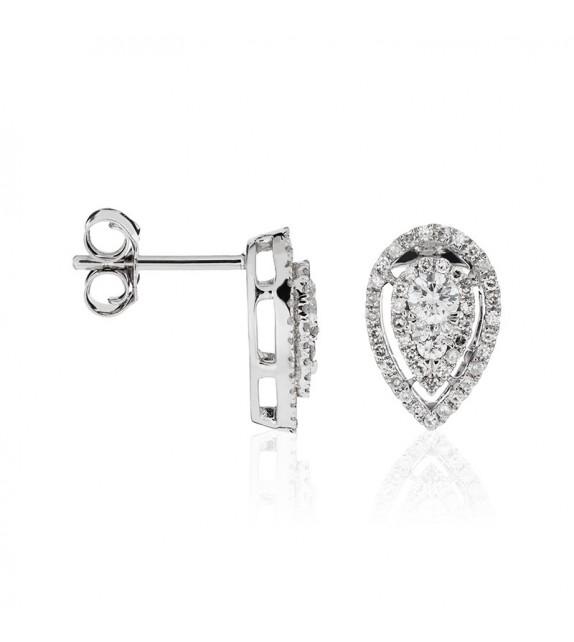 Boucles doreilles Précieux diamants Or Blanc et Diamant 0,51ct