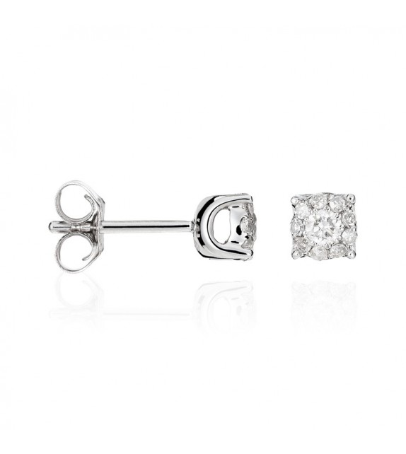 Boucles doreilles Brillant Luciana 0,25 Or Blanc et Diamant 0,25ct