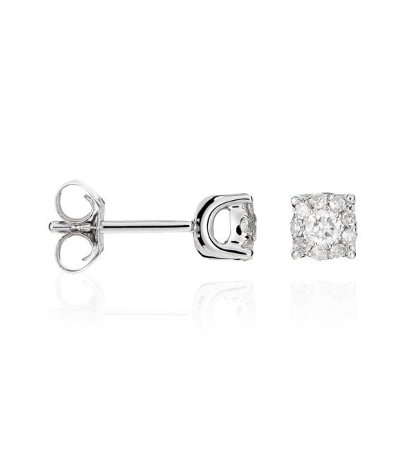 Boucles doreilles Brillant Luciana 0,5 Or Blanc et Diamant 0,5ct