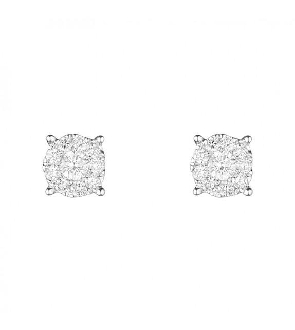 Boucles doreilles Belles puces Or Blanc et Diamant 0,52ct