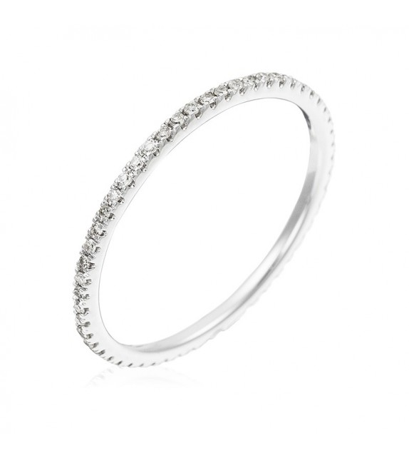 Bague Belle Alliance Tour Complet Or Blanc et Diamant 0,16ct