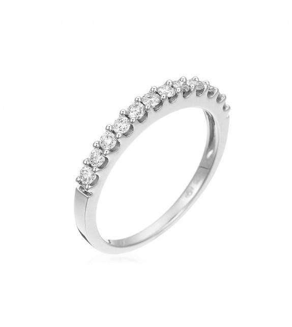 Bague Alliance tour de diamants Or Blanc et Diamant 0,33ct