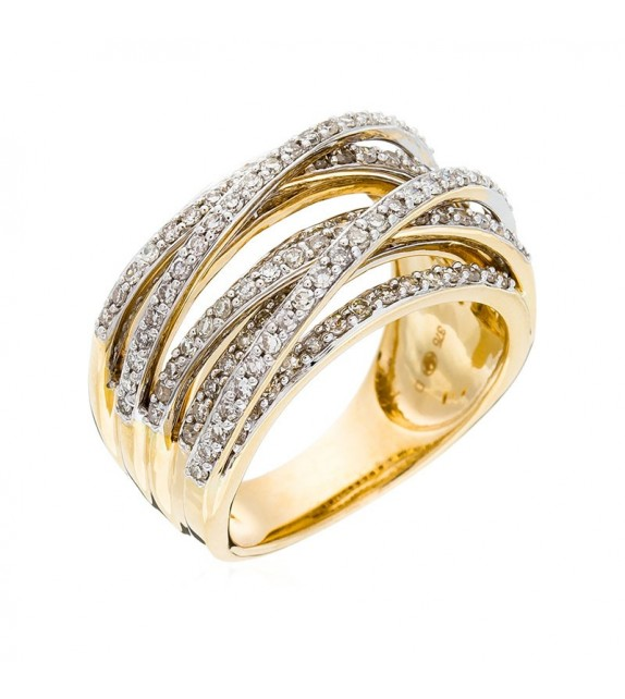 Bague New Entrelacs Candides Or Jaune et Diamant 0,99ct