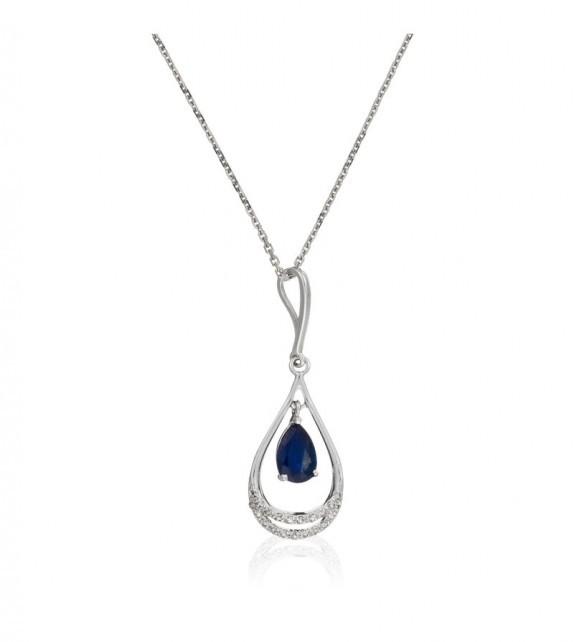 Pendentif Gold and Blue Or Blanc et Diamant 0,07ct Saphir 0,5ct