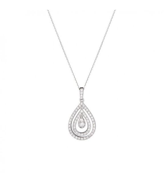 Pendentif Poire Ajourée Or Blanc et Diamant 0,25ct