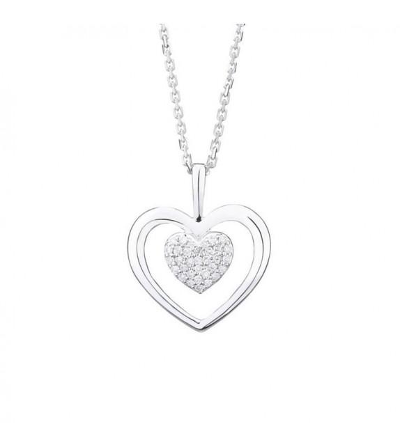 Pendentif Coeur Or Blanc et Diamant 0,06ct