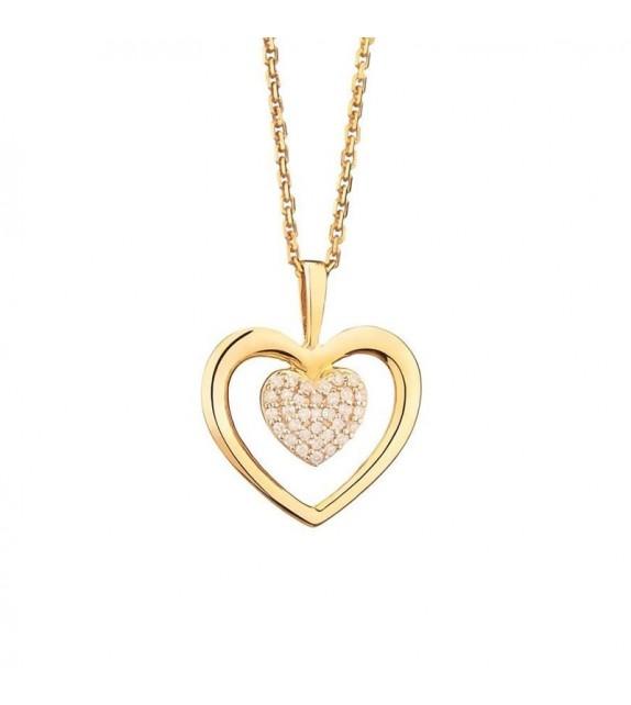 Pendentif Coeur Tendresse Or Jaune et Diamant 0,06ct