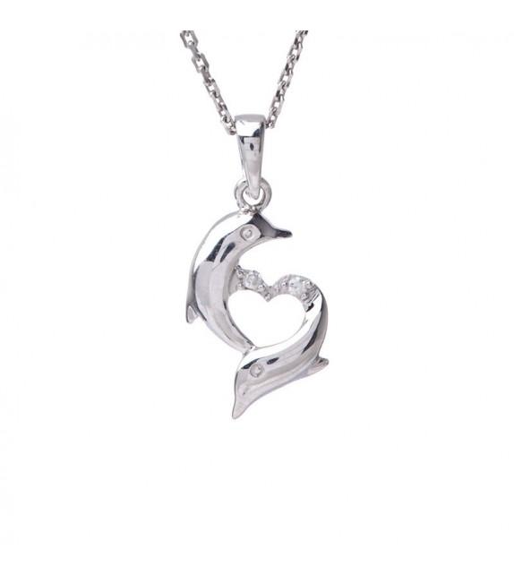 Pendentif Amours de Dauphins Or Blanc et Diamant 0,01ct