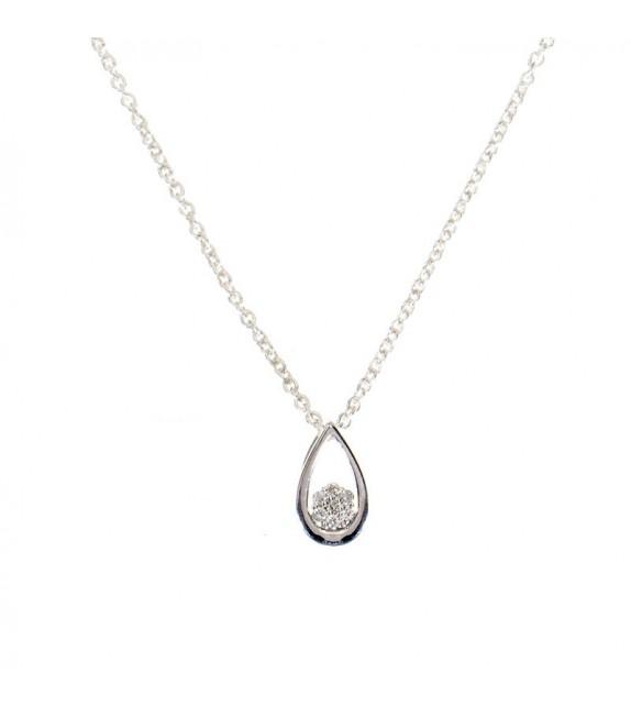 Pendentif Perlita Or Blanc et Diamant 0,03ct