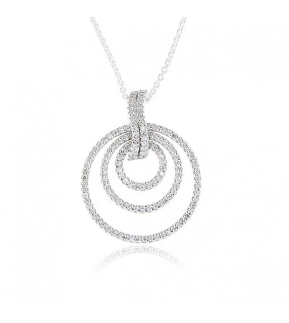 Pendentif Cerceau Oriental Or Blanc et Diamant 0,44ct
