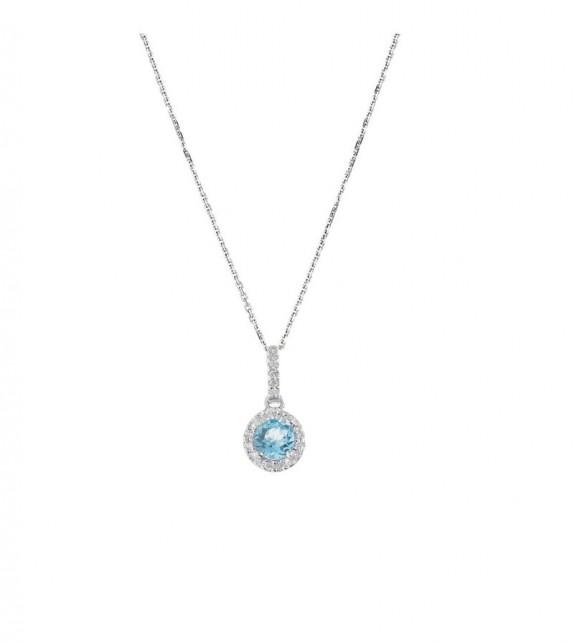 Pendentif Popi Topaze 4mm Or Blanc et Diamant 0,04ct Topaze 0,35ct