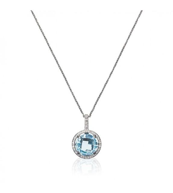 Pendentif Luna Topaze Or Blanc et Diamant 0,06ct Topaze 1,82ct