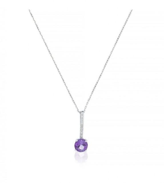 Pendentif Violeta Or Blanc et Diamant 0,03ct Améthyste 0,34ct