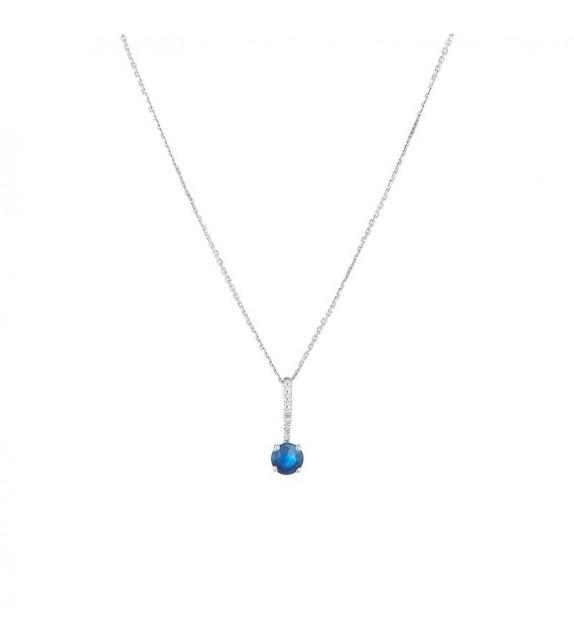 Pendentif Blueberry Or Blanc et Diamant 0,02ct Saphir 0,57ct