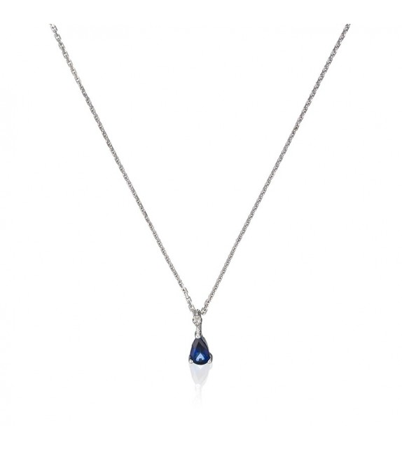 Pendentif Sapphire drop Or Blanc et Diamant 0,01ct Saphir 0,19ct