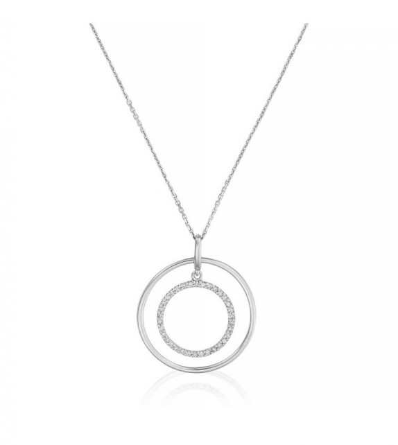 Pendentif Double Cible Or Blanc et Diamant 0,15ct