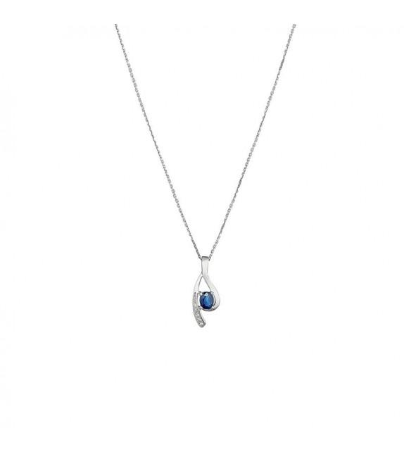 Pendentif Lana Or Blanc et Diamant 0,02ct Saphir 0,57ct