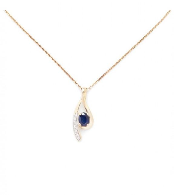 Pendentif Lana Or Jaune et Diamant 0,02ct Saphir 0,57ct
