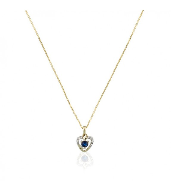 Pendentif Heart Or Jaune et Diamant 0,02ct Saphir 0,16ct