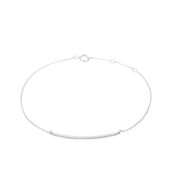 Bracelet Barette lovely Or Blanc et Diamant 0,08ct