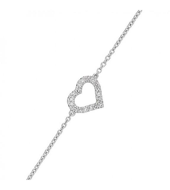 Bracelet Coeur scintillant Or Blanc et Diamant 0,06ct