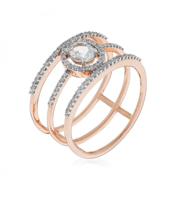 Bague Magical Or Rose et Diamant 0,3ct Topaze 0,3ct
