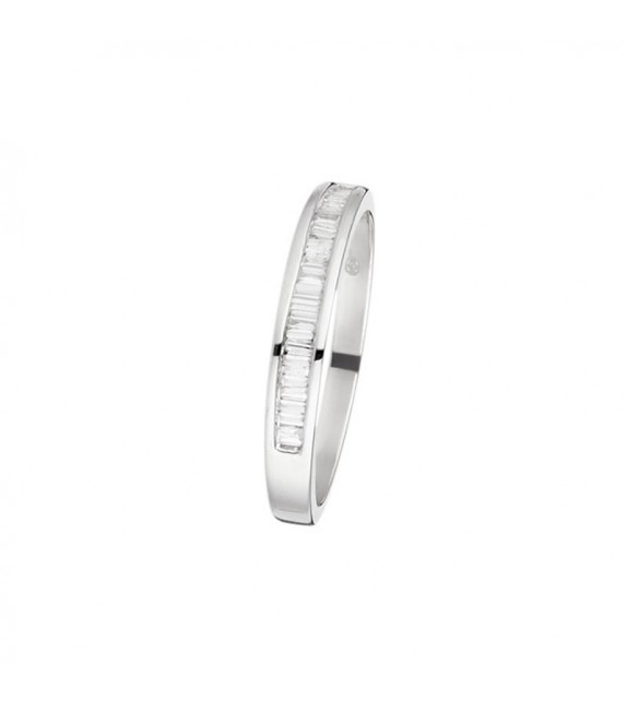 Bague Tour baguette Or Blanc et Diamant 0,16ct