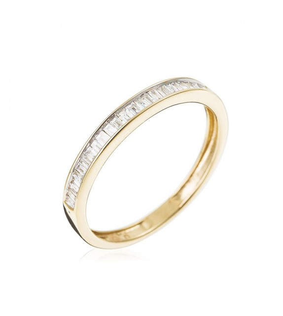Bague Tour baguette Or Jaune et Diamant 0,16ct