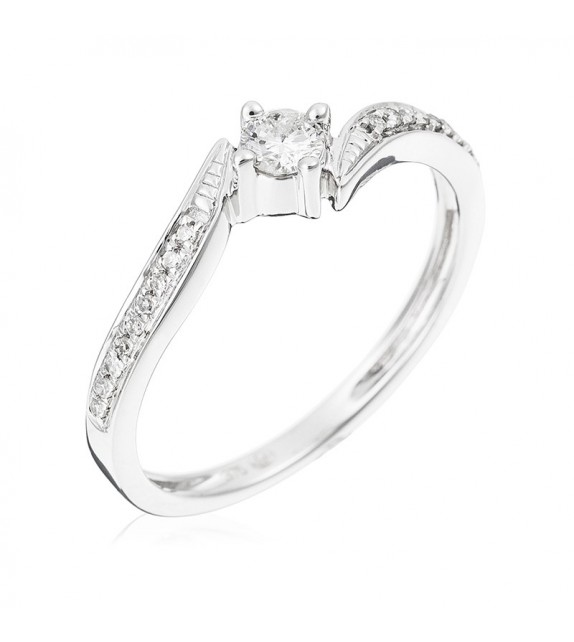 Bague Valseuse Or Blanc et Diamant 0,21ct