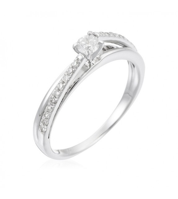 Bague Solitaire Inversion Or Blanc et Diamant 0,25ct