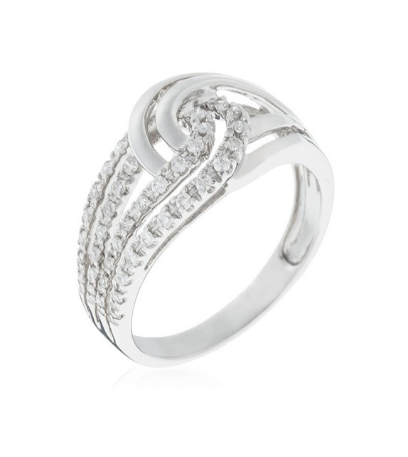 Bague Duo de boucles Or Blanc et Diamant 0,25ct