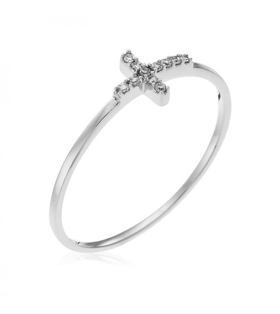 Bague Cruz Or Blanc et Diamant 0,03ct