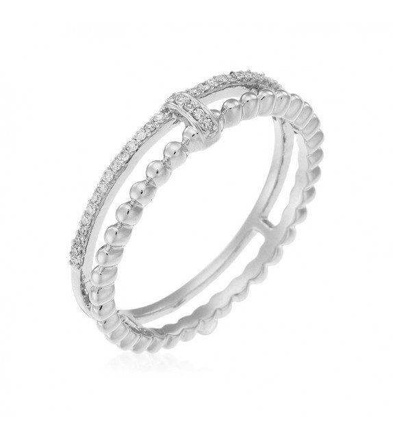 Bague For Life Or Blanc et Diamant 0,07ct