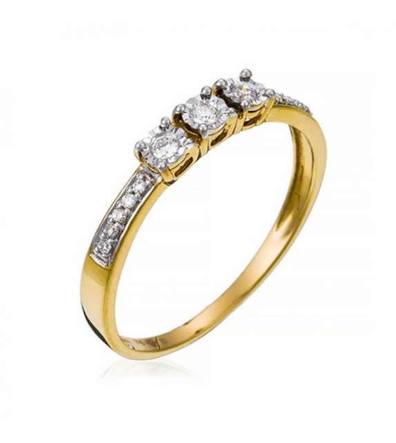 Bague My life Or Jaune et Diamant 0,1ct